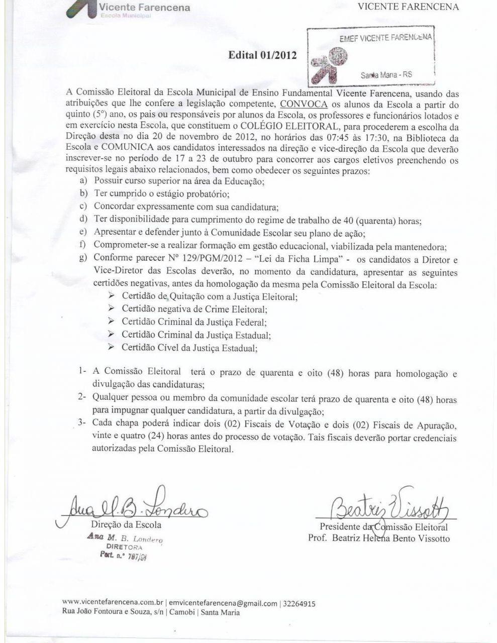 Edital 01/2012 - Convocação
